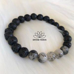 Tourmalinated Quartz x Lava Beads Stretch Bracelet
